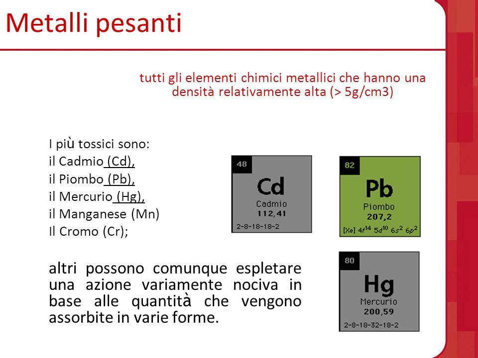 Metalli pesanti I pi ù tossici sono: il Cadmio (Cd), il Piombo (Pb), il Mercurio (Hg), il Manganese (Mn) Il Cromo (Cr); altri possono comunque espleta
