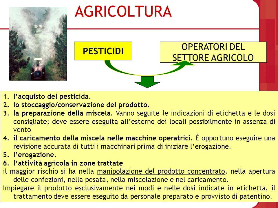 AGRICOLTURA PESTICIDI OPERATORI DEL SETTORE AGRICOLO 1.lacquisto del pesticida. 2.lo stoccaggio/conservazione del prodotto. 3.la preparazione della mi