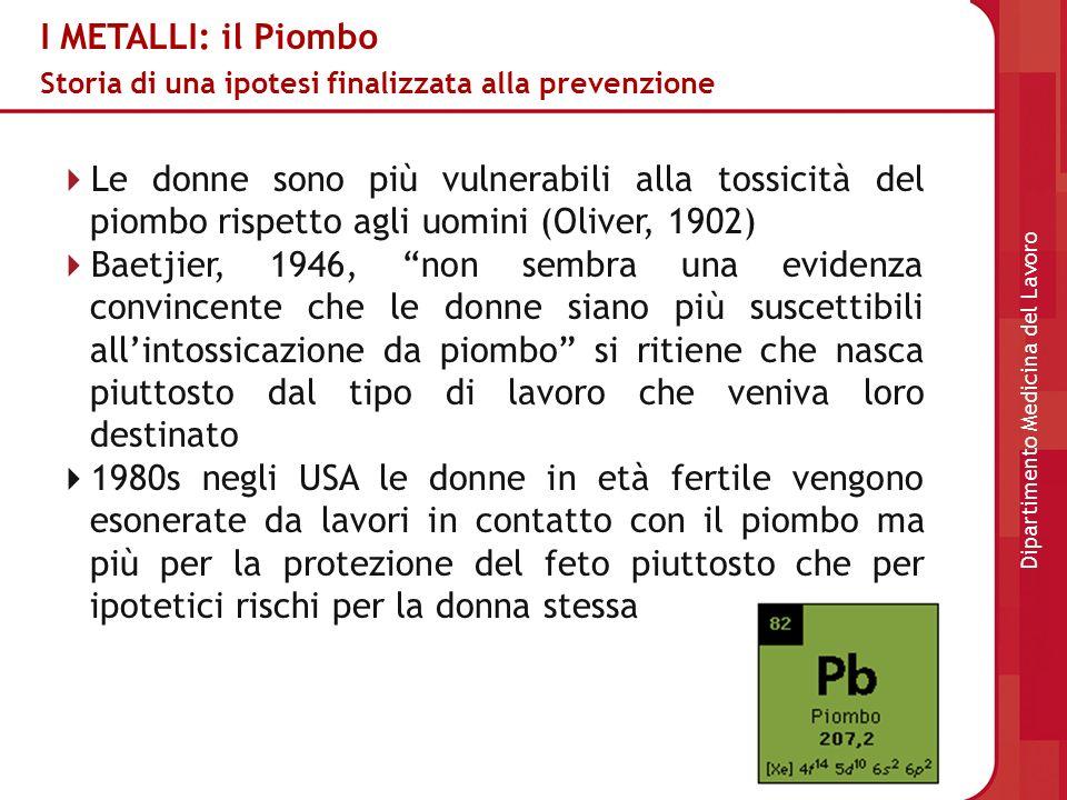 I METALLI: il Piombo Storia di una ipotesi finalizzata alla prevenzione Le donne sono più vulnerabili alla tossicità del piombo rispetto agli uomini (