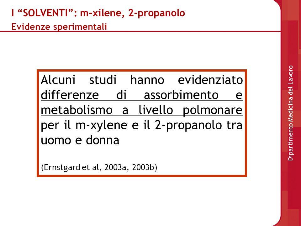 I SOLVENTI: m-xilene, 2-propanolo Evidenze sperimentali Alcuni studi hanno evidenziato differenze di assorbimento e metabolismo a livello polmonare pe