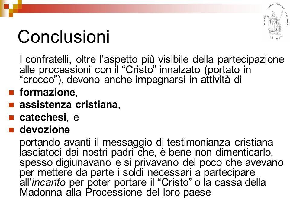 Conclusioni I confratelli, oltre laspetto più visibile della partecipazione alle processioni con il Cristo innalzato (portato in crocco), devono anche