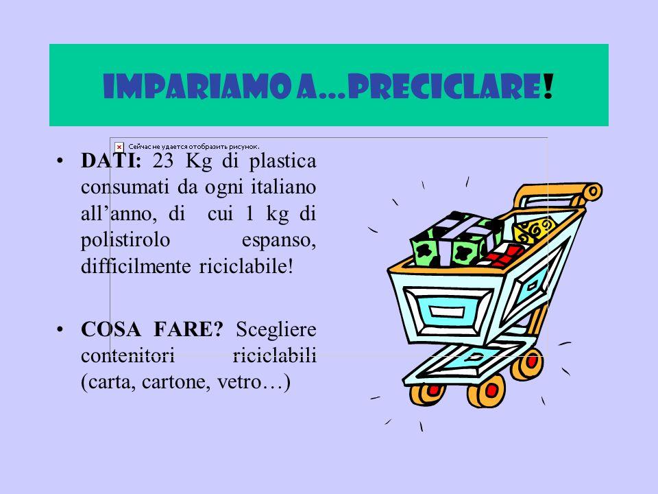 Il preciclaggio Dati: Pensa prima di comperare. Non acquistare materiali non riciclabili. Dati: Pensa prima di comperare. Non acquistare materiali non