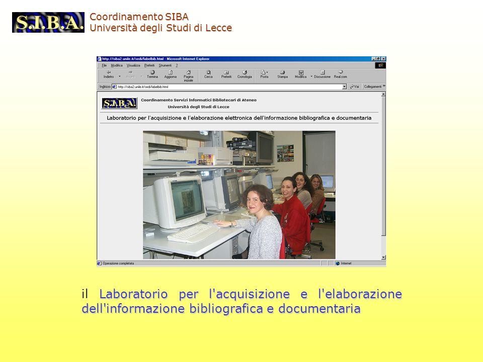 Laboratorio per l'acquisizione e l'elaborazione dell'informazione bibliografica e documentaria il Laboratorio per l'acquisizione e l'elaborazione dell