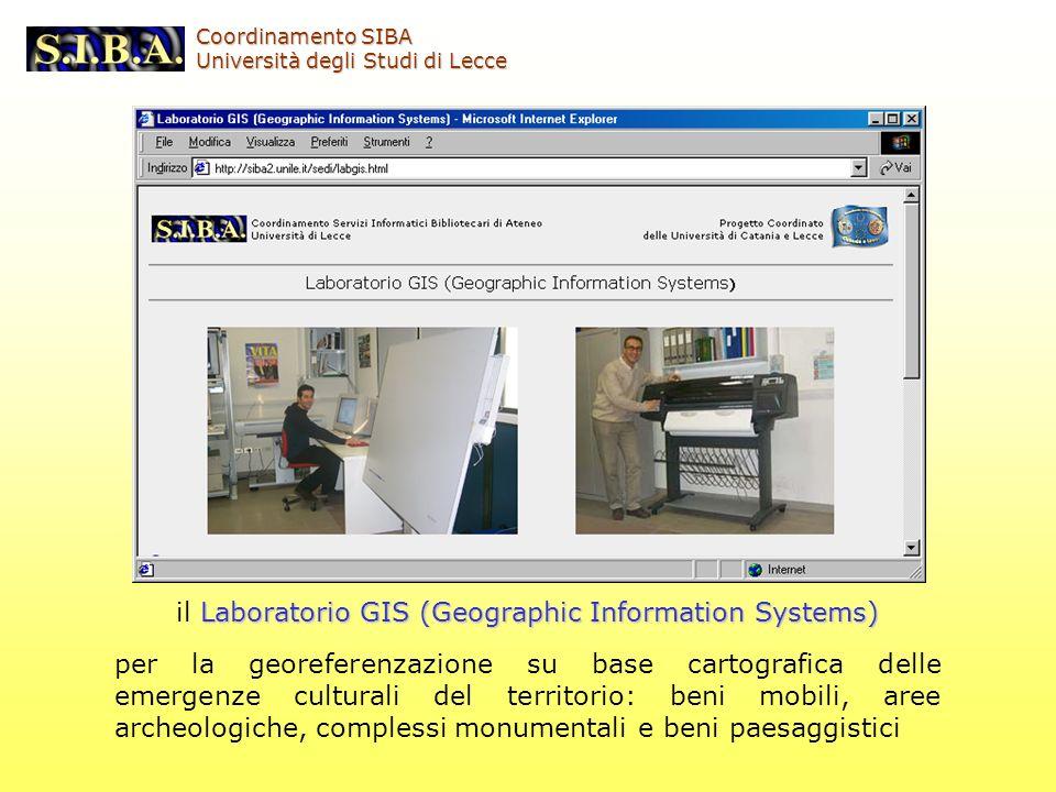 Laboratorio GIS (Geographic Information Systems) il Laboratorio GIS (Geographic Information Systems) per la georeferenzazione su base cartografica del