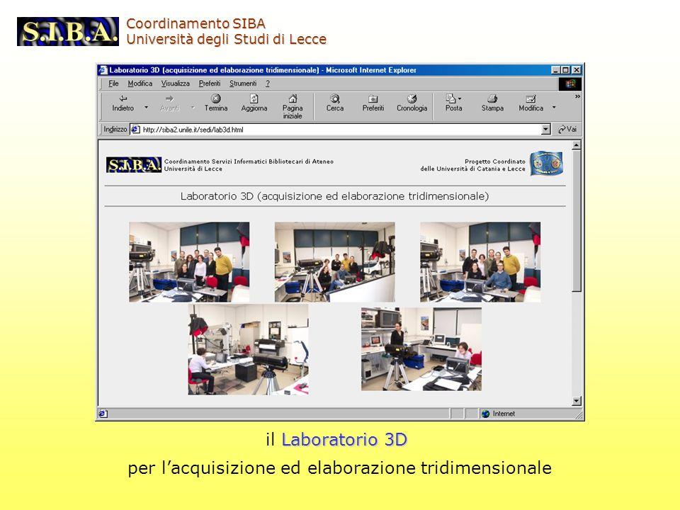 Laboratorio 3D il Laboratorio 3D per lacquisizione ed elaborazione tridimensionale Coordinamento SIBA Università degli Studi di Lecce