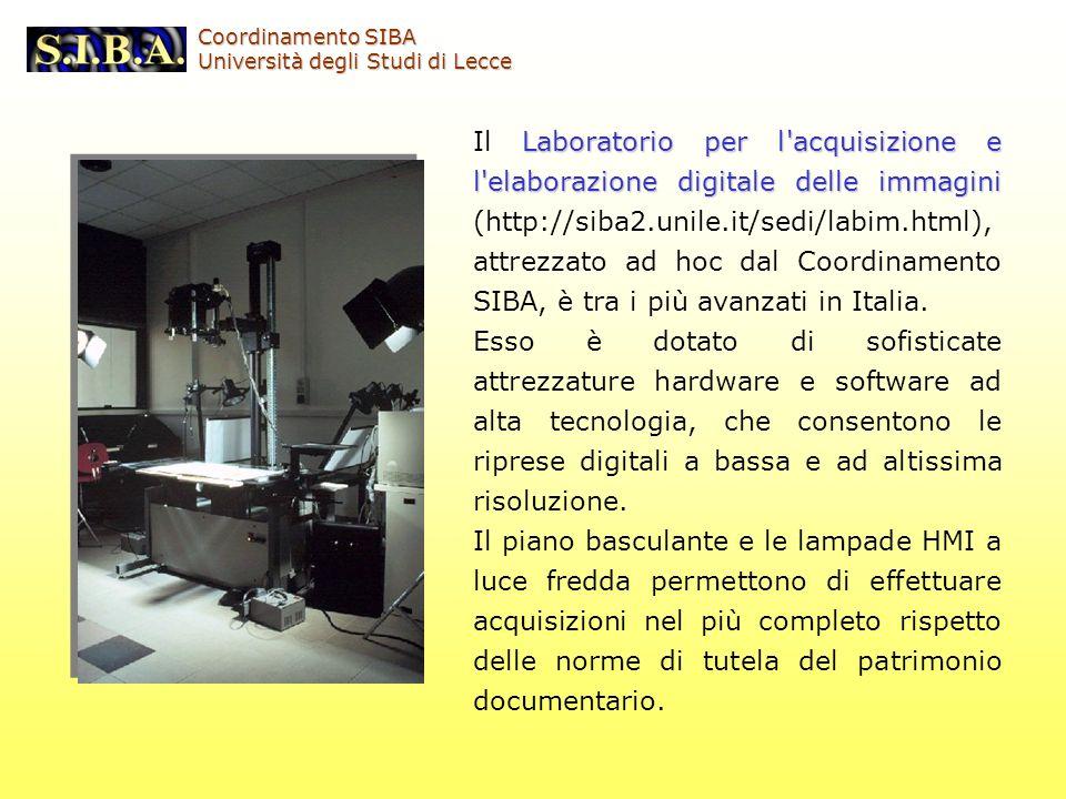 Laboratorio per l'acquisizione e l'elaborazione digitale delle immagini Il Laboratorio per l'acquisizione e l'elaborazione digitale delle immagini (ht