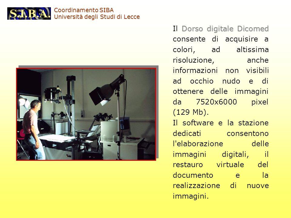 Dorso digitale Dicomed Il Dorso digitale Dicomed consente di acquisire a colori, ad altissima risoluzione, anche informazioni non visibili ad occhio n