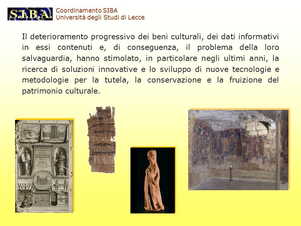 Il deterioramento progressivo dei beni culturali, dei dati informativi in essi contenuti e, di conseguenza, il problema della loro salvaguardia, hanno