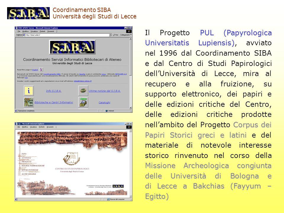 PUL (Papyrologica Universitatis Lupiensis) Corpus dei Papiri Storici greci e latini Missione Archeologicacongiunta delle Università di Bologna e di Le