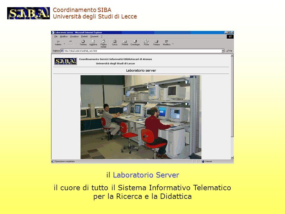 Laboratorio Server il Laboratorio Server il cuore di tutto il Sistema Informativo Telematico per la Ricerca e la Didattica Coordinamento SIBA Universi