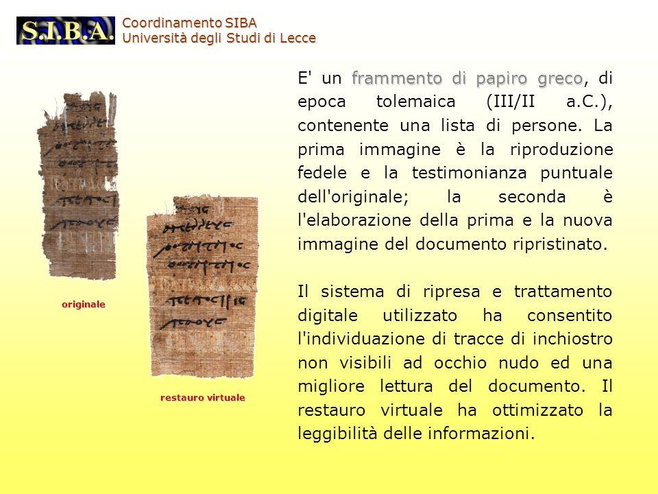 frammento di papiro greco E' un frammento di papiro greco, di epoca tolemaica (III/II a.C.), contenente una lista di persone. La prima immagine è la r