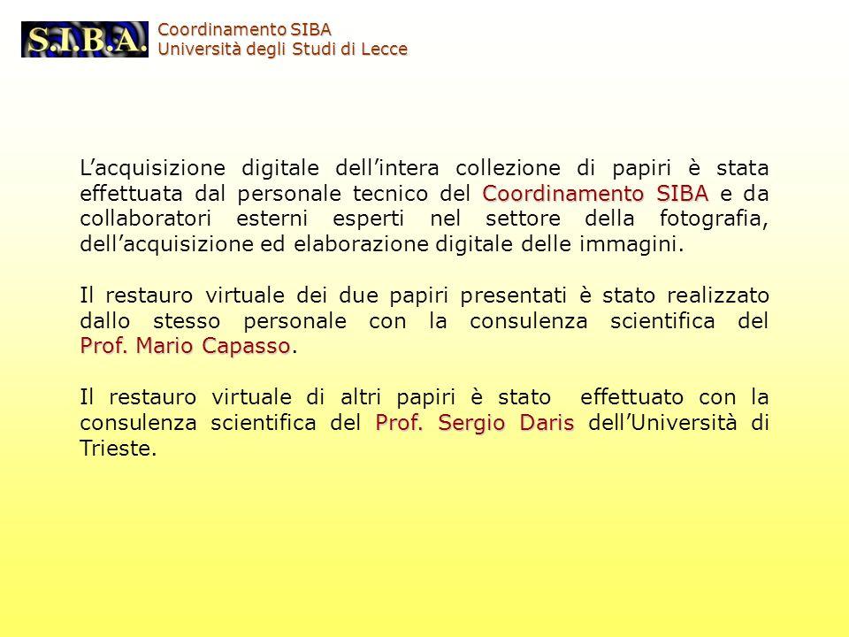 Coordinamento SIBA Lacquisizione digitale dellintera collezione di papiri è stata effettuata dal personale tecnico del Coordinamento SIBA e da collabo