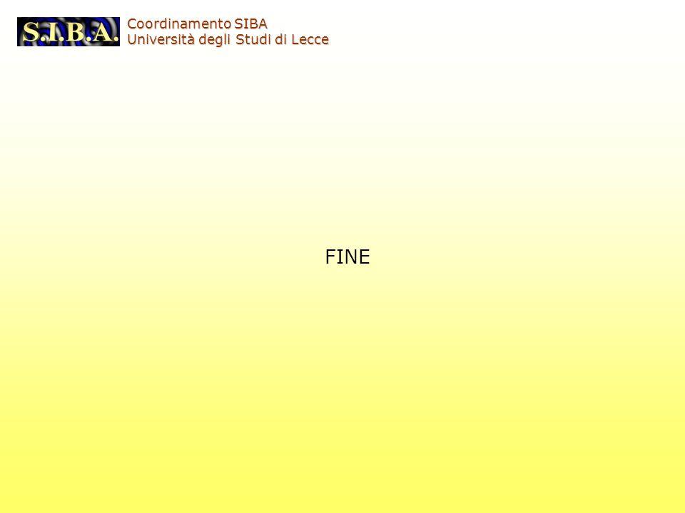 FINE Coordinamento SIBA Università degli Studi di Lecce