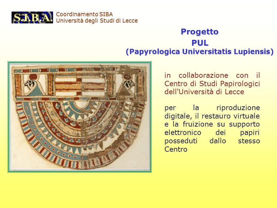ProgettoPUL (Papyrologica Universitatis Lupiensis) in collaborazione con il Centro di Studi Papirologici dell'Università di Lecce per la riproduzione