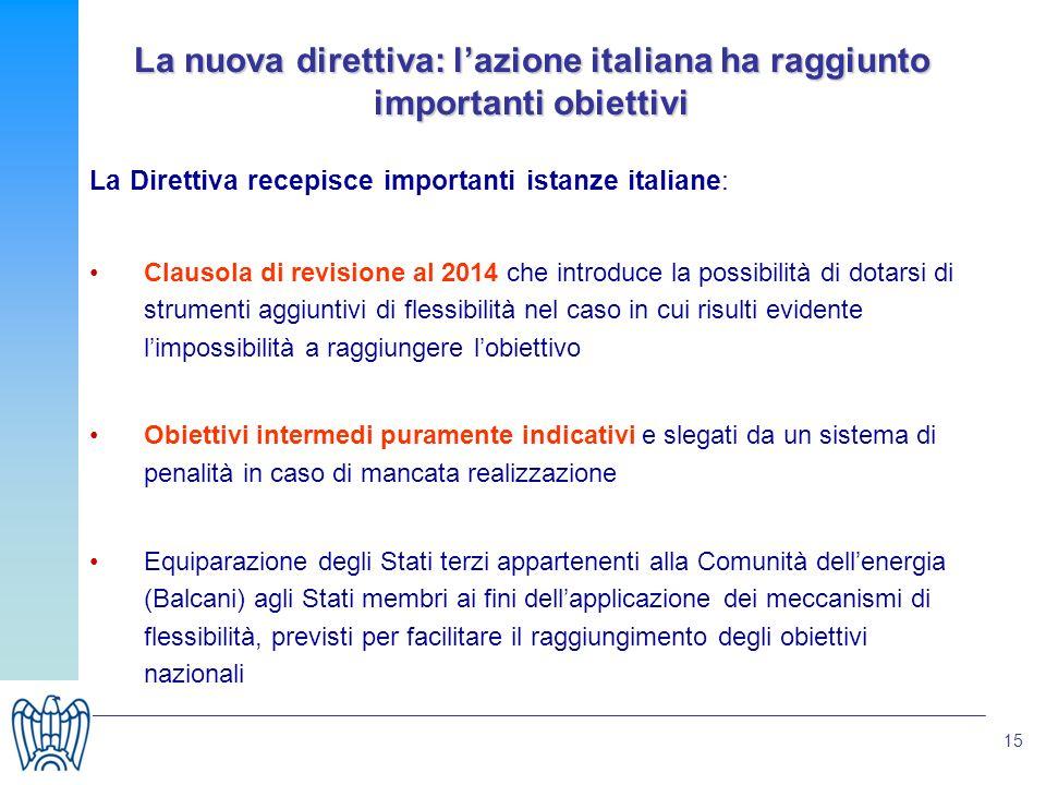 15 La nuova direttiva: lazione italiana ha raggiunto importanti obiettivi La Direttiva recepisce importanti istanze italiane: Clausola di revisione al