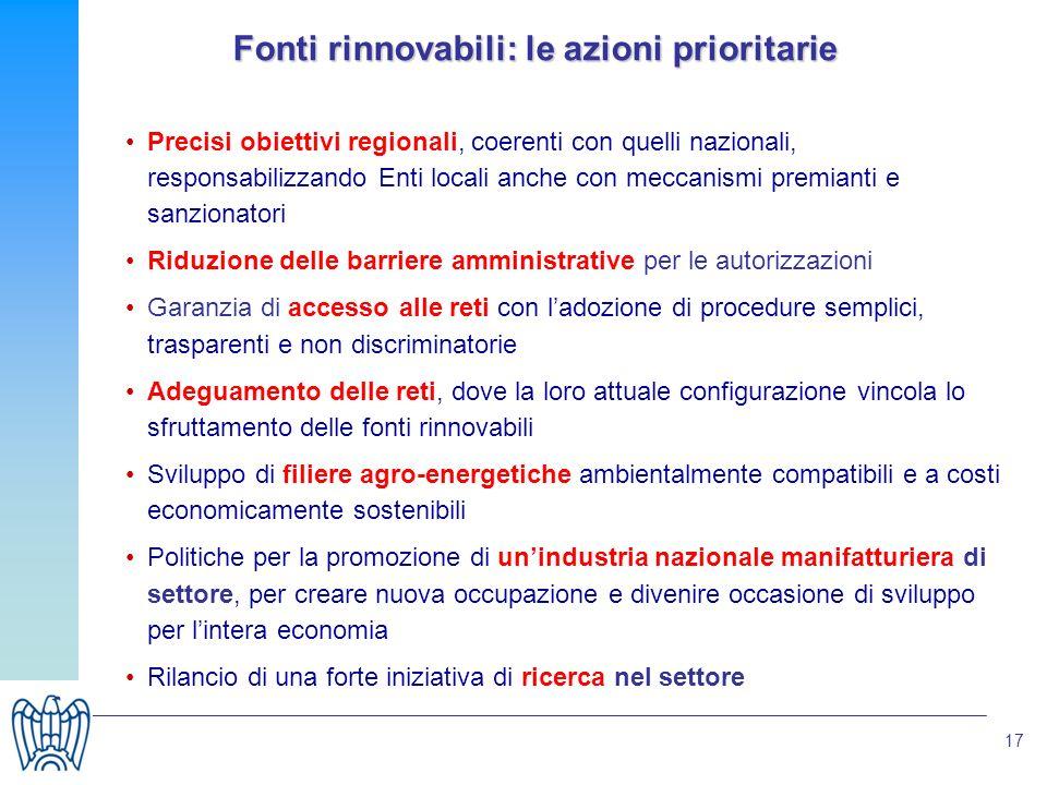 17 Fonti rinnovabili: le azioni prioritarie Precisi obiettivi regionali, coerenti con quelli nazionali, responsabilizzando Enti locali anche con mecca