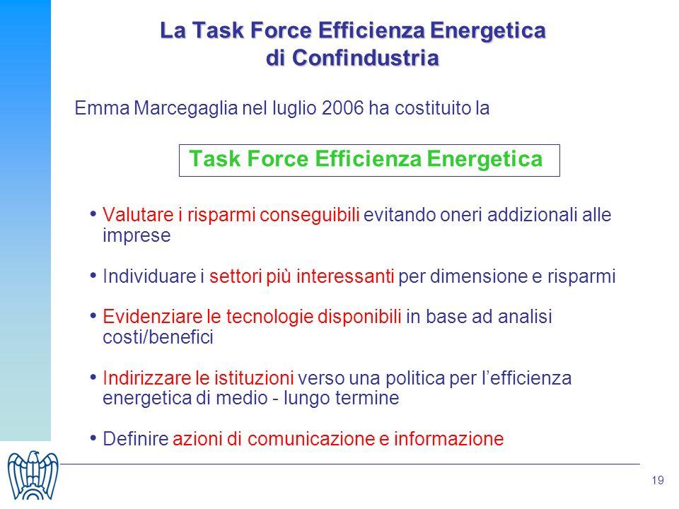 19 Emma Marcegaglia nel luglio 2006 ha costituito la Task Force Efficienza Energetica Valutare i risparmi conseguibili evitando oneri addizionali alle
