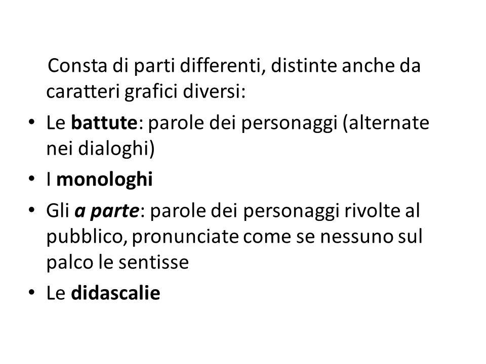 Consta di parti differenti, distinte anche da caratteri grafici diversi: Le battute: parole dei personaggi (alternate nei dialoghi) I monologhi Gli a