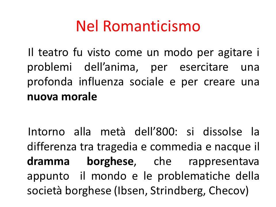 Nel Romanticismo Il teatro fu visto come un modo per agitare i problemi dellanima, per esercitare una profonda influenza sociale e per creare una nuov