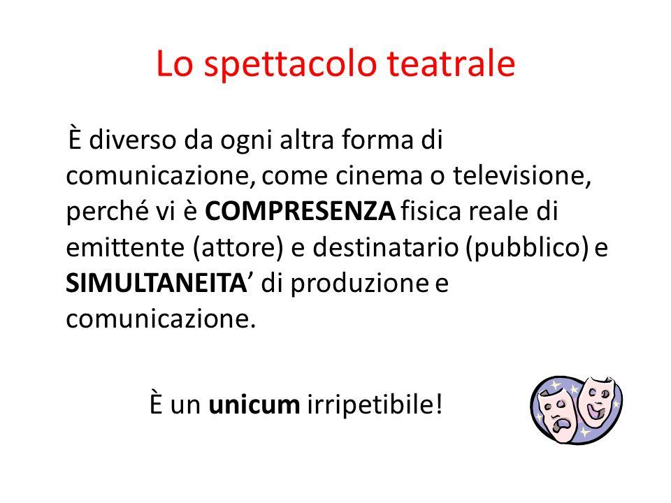 Lo spettacolo teatrale È diverso da ogni altra forma di comunicazione, come cinema o televisione, perché vi è COMPRESENZA fisica reale di emittente (a