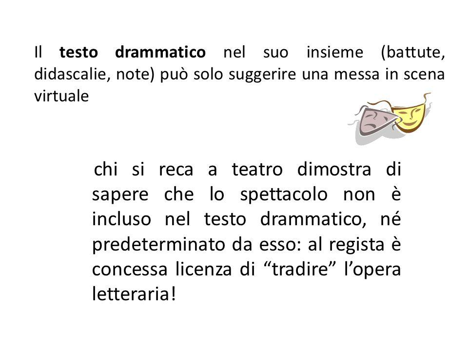 Il testo drammatico nel suo insieme (battute, didascalie, note) può solo suggerire una messa in scena virtuale chi si reca a teatro dimostra di sapere