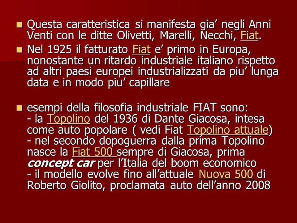 Questa caratteristica si manifesta gia negli Anni Venti con le ditte Olivetti, Marelli, Necchi, Fiat.