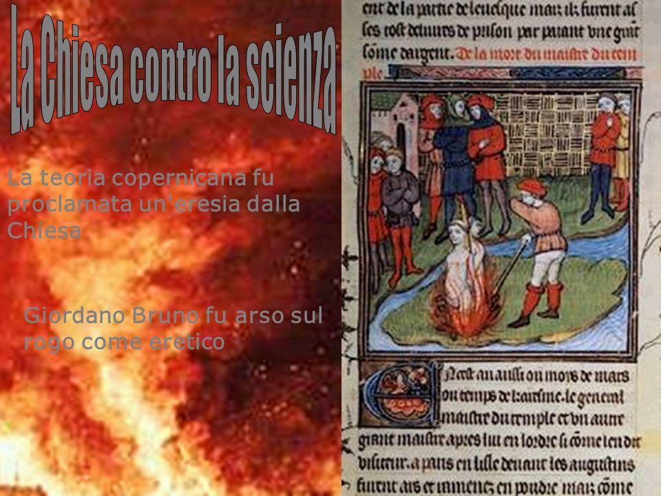 Giordano Bruno fu arso sul rogo come eretico La teoria copernicana fu proclamata un'eresia dalla Chiesa