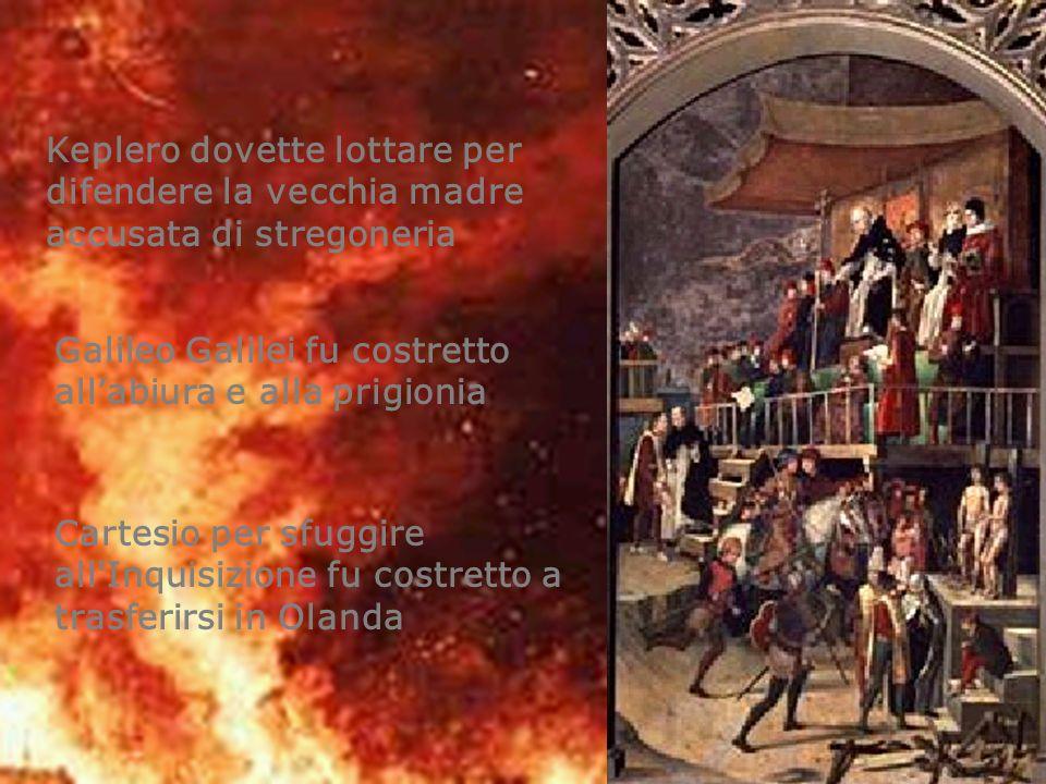 Galileo Galilei fu costretto allabiura e alla prigionia Keplero dovette lottare per difendere la vecchia madre accusata di stregoneria Cartesio per sf