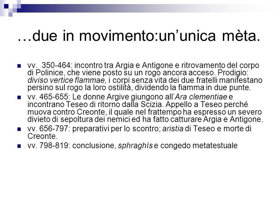 …due in movimento:ununica mèta. vv. 350-464: incontro tra Argia e Antigone e ritrovamento del corpo di Polinice, che viene posto su un rogo ancora acc