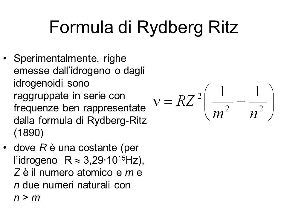 Formula di Rydberg Ritz Sperimentalmente, righe emesse dallidrogeno o dagli idrogenoidi sono raggruppate in serie con frequenze ben rappresentate dall