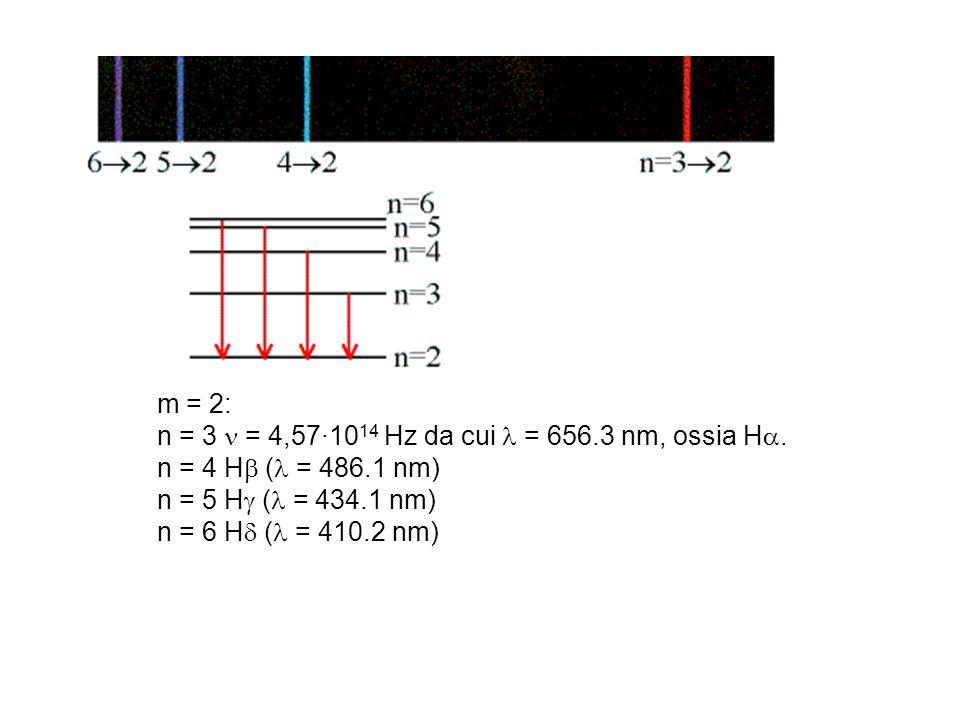m = 2: n = 3 = 4,57·10 14 Hz da cui = 656.3 nm, ossia H. n = 4 H ( = 486.1 nm) n = 5 H ( = 434.1 nm) n = 6 H ( = 410.2 nm)