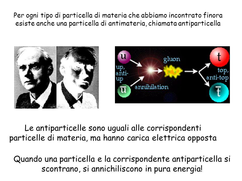 Per ogni tipo di particella di materia che abbiamo incontrato finora esiste anche una particella di antimateria, chiamata antiparticella Le antipartic