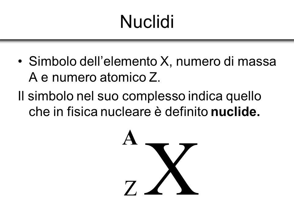 Nuclidi Simbolo dellelemento X, numero di massa A e numero atomico Z. Il simbolo nel suo complesso indica quello che in fisica nucleare è definito nuc
