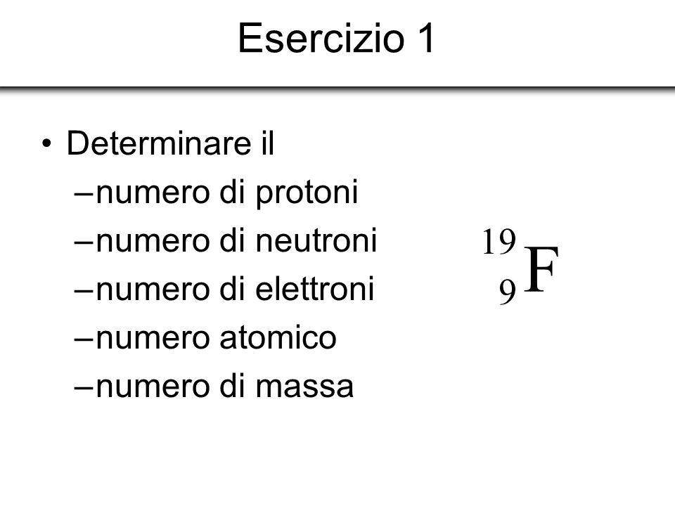 Esercizio 1 Determinare il –numero di protoni –numero di neutroni –numero di elettroni –numero atomico –numero di massa F 19 9