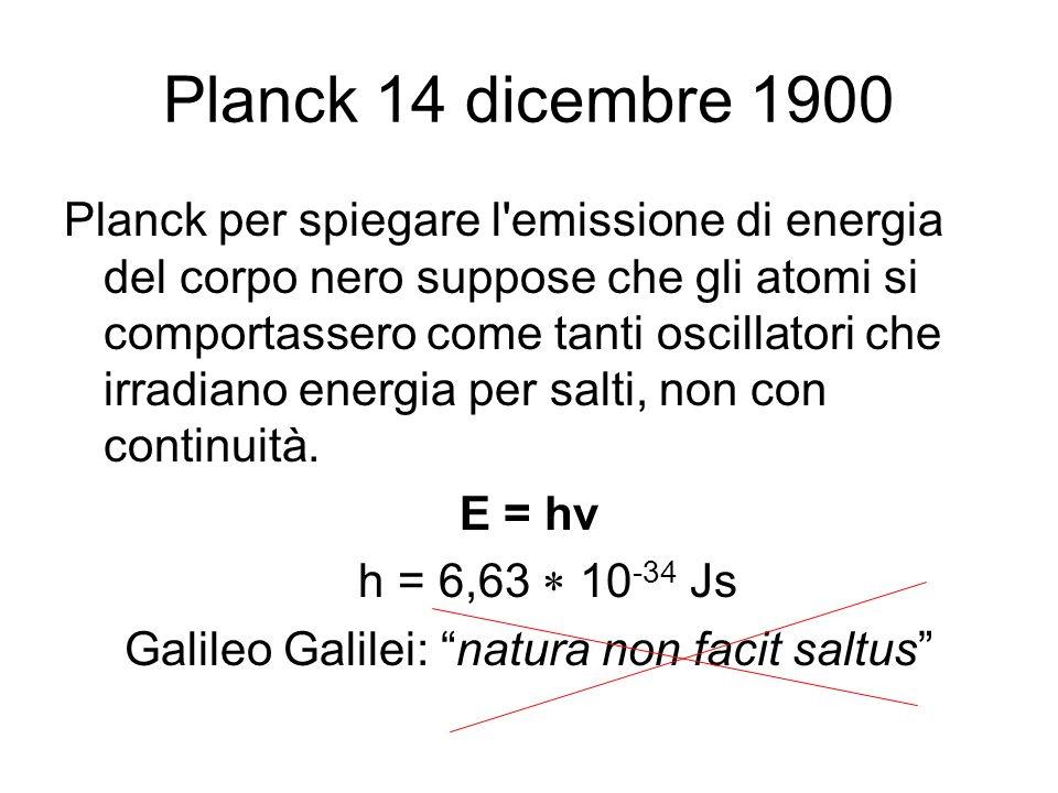 Planck 14 dicembre 1900 Planck per spiegare l'emissione di energia del corpo nero suppose che gli atomi si comportassero come tanti oscillatori che ir