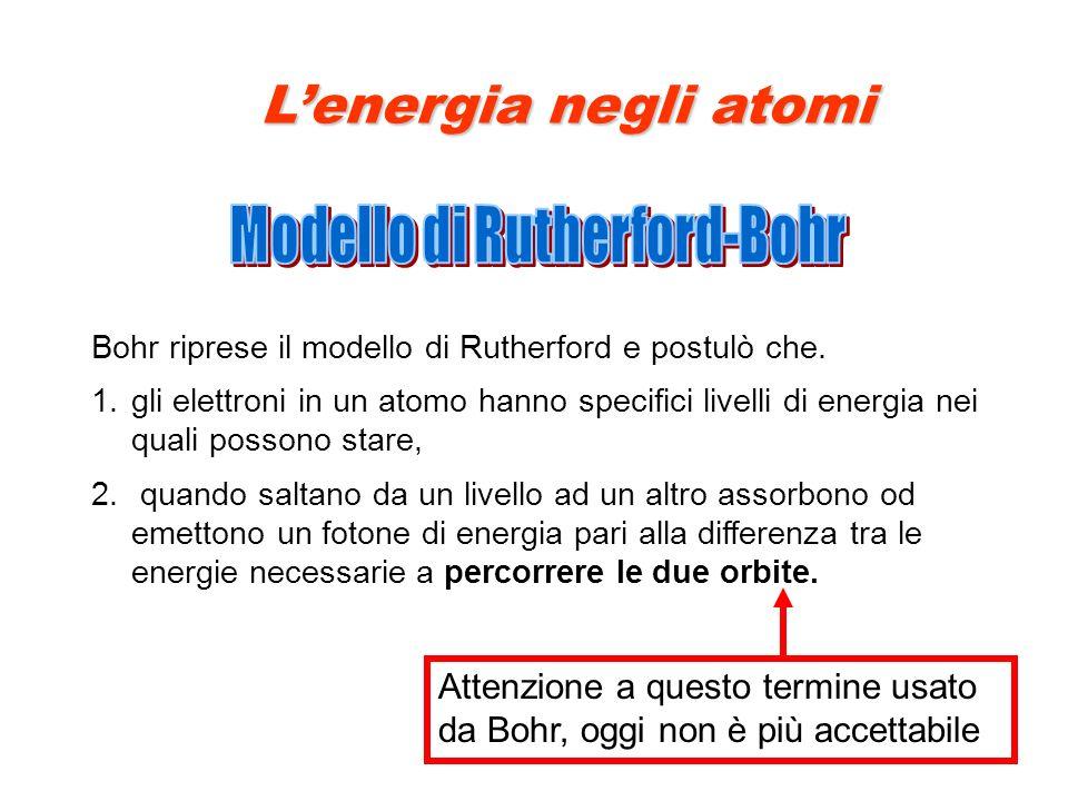 Bohr riprese il modello di Rutherford e postulò che. 1.gli elettroni in un atomo hanno specifici livelli di energia nei quali possono stare, 2. quando