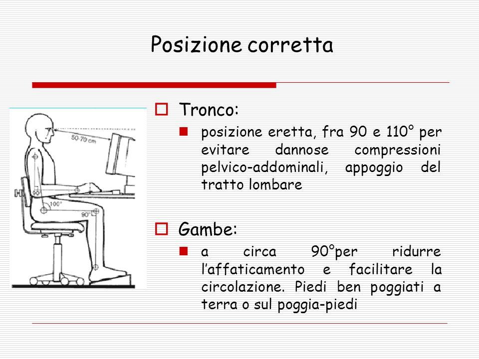 Tronco: posizione eretta, fra 90 e 110° per evitare dannose compressioni pelvico-addominali, appoggio del tratto lombare Gambe: a circa 90°per ridurre laffaticamento e facilitare la circolazione.