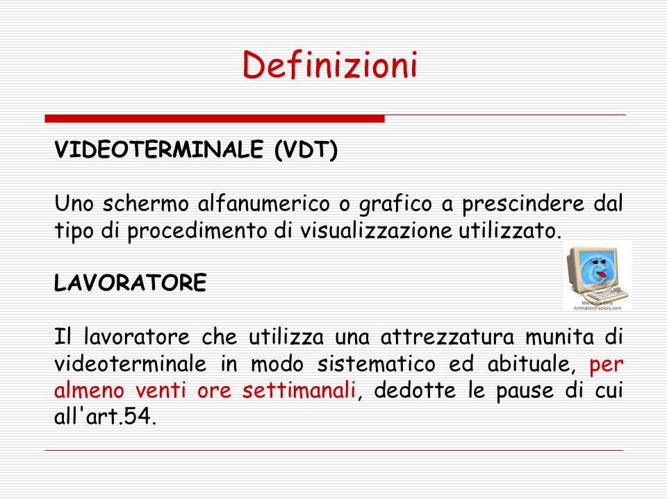 VIDEOTERMINALE (VDT) Uno schermo alfanumerico o grafico a prescindere dal tipo di procedimento di visualizzazione utilizzato.