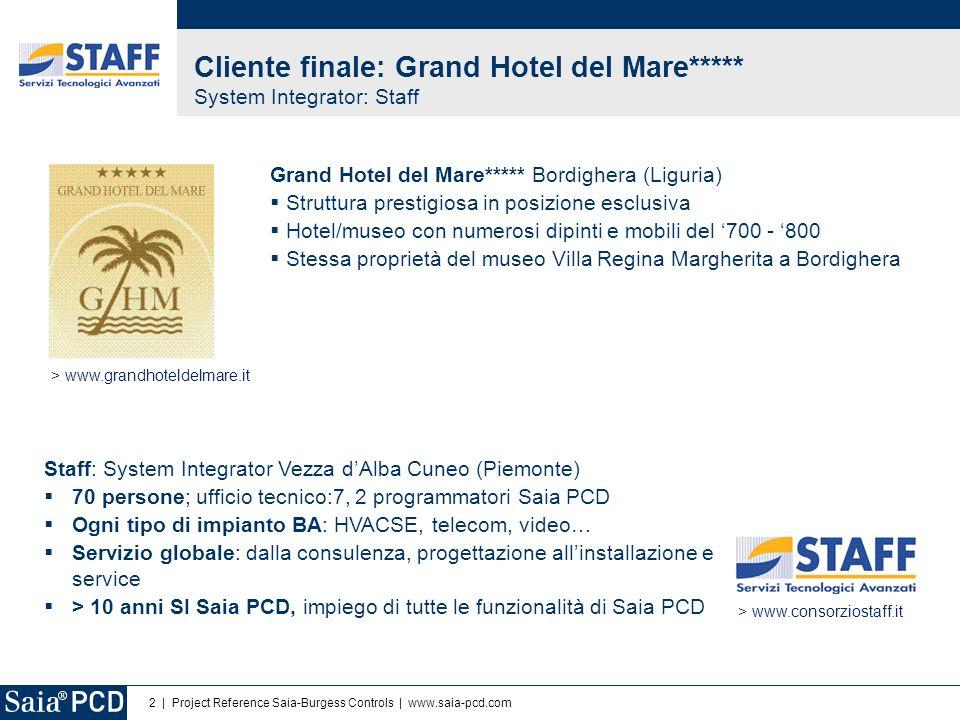 2   Project Reference Saia-Burgess Controls   www.saia-pcd.com Grand Hotel del Mare***** Bordighera (Liguria) Struttura prestigiosa in posizione esclu