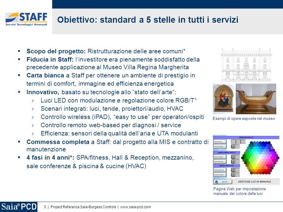 3   Project Reference Saia-Burgess Controls   www.saia-pcd.com Obiettivo: standard a 5 stelle in tutti i servizi Scopo del progetto: Ristrutturazione