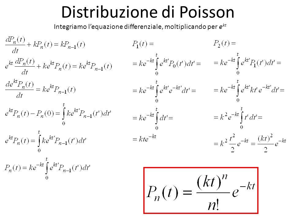 Distribuzione di Poisson Integriamo lequazione differenziale, moltiplicando per e kt