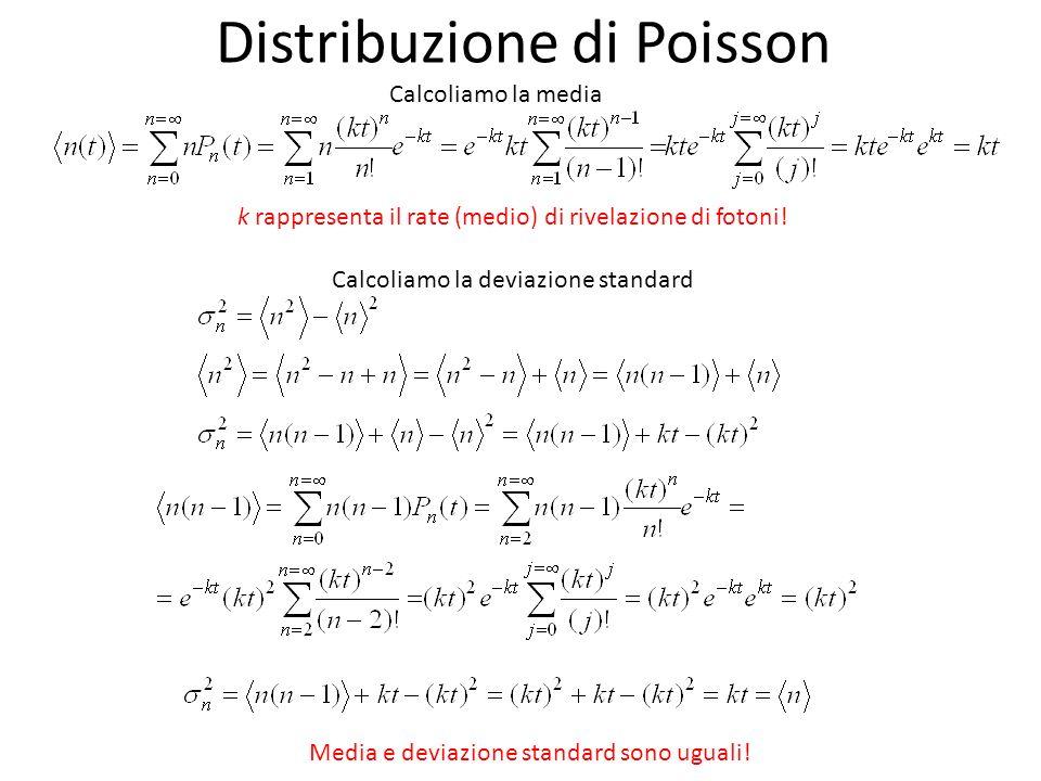 Distribuzione di Poisson Calcoliamo la media k rappresenta il rate (medio) di rivelazione di fotoni! Calcoliamo la deviazione standard Media e deviazi