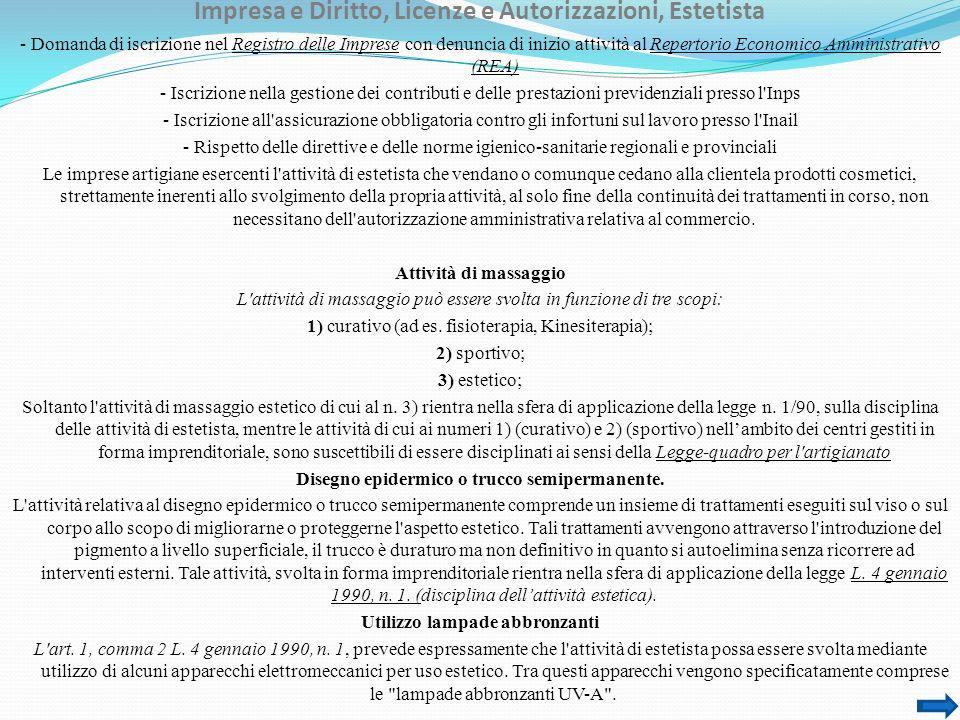 Impresa e Diritto, Licenze e Autorizzazioni, Estetista - Domanda di iscrizione nel Registro delle Imprese con denuncia di inizio attività al Repertori