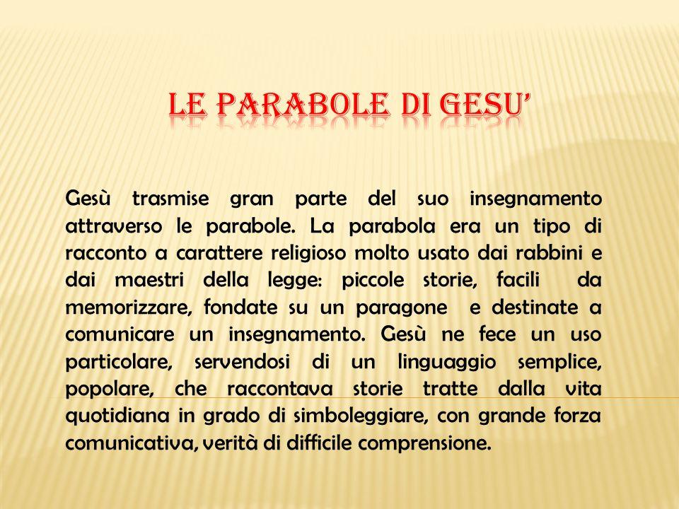 Gesù trasmise gran parte del suo insegnamento attraverso le parabole. La parabola era un tipo di racconto a carattere religioso molto usato dai rabbin