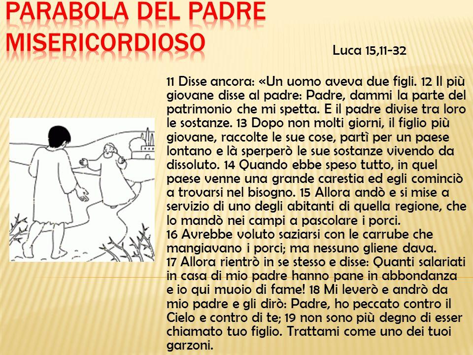 Luca 15,11-32 11 Disse ancora: «Un uomo aveva due figli. 12 Il più giovane disse al padre: Padre, dammi la parte del patrimonio che mi spetta. E il pa