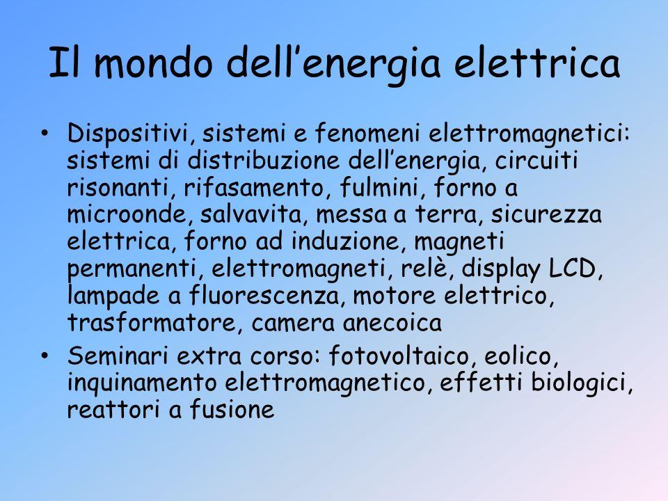 Il mondo dellenergia elettrica Dispositivi, sistemi e fenomeni elettromagnetici: sistemi di distribuzione dellenergia, circuiti risonanti, rifasamento