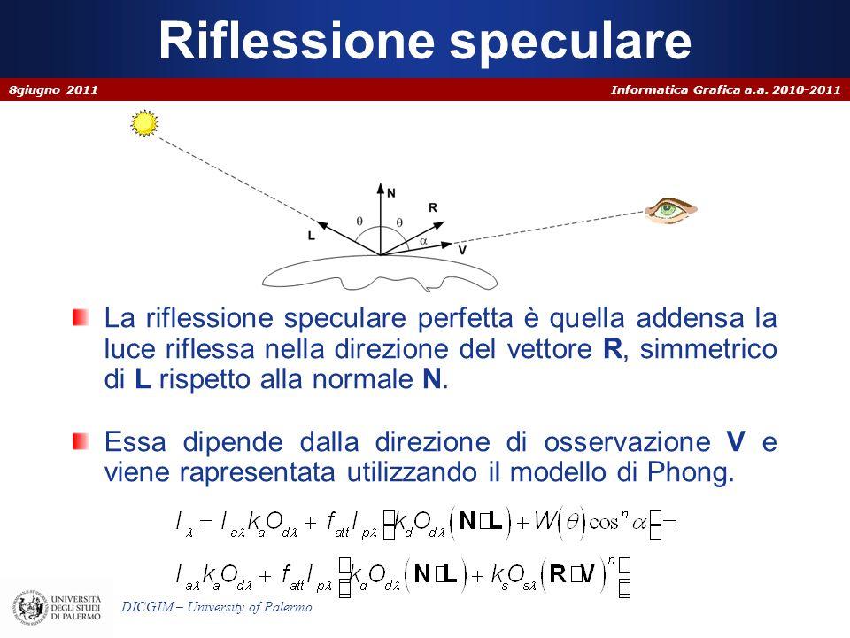 Informatica Grafica a.a. 2010-2011 DICGIM – University of Palermo Riflessione speculare La riflessione speculare perfetta è quella addensa la luce rif