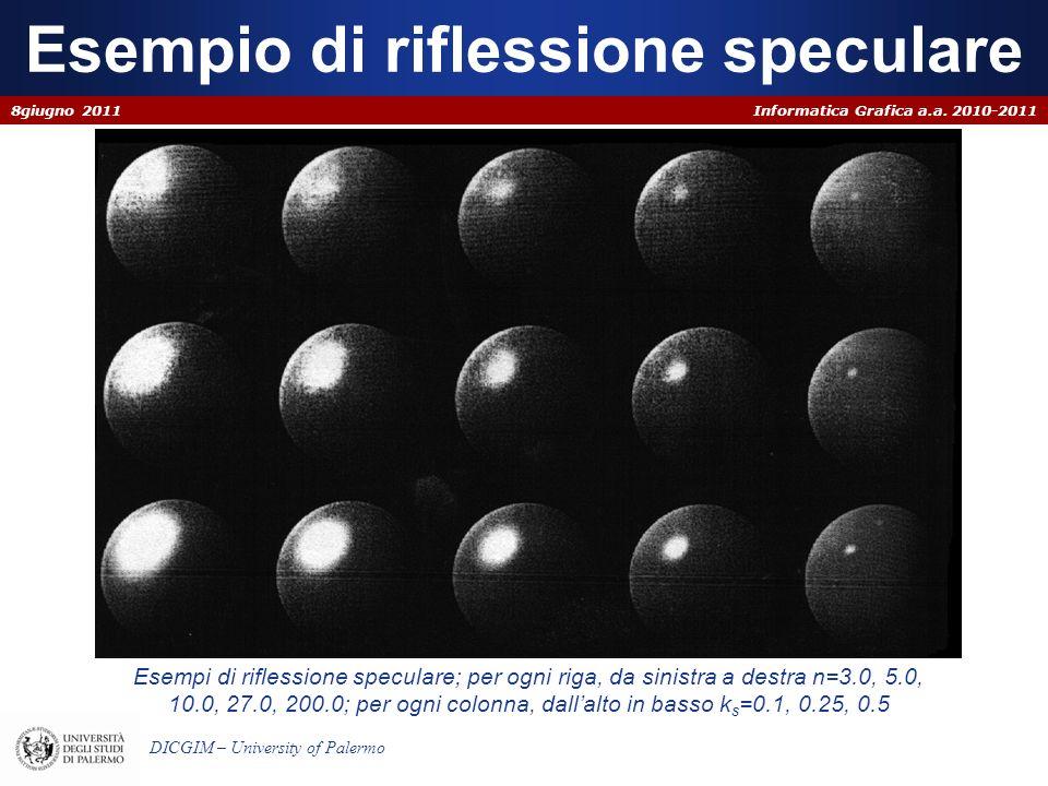 Informatica Grafica a.a. 2010-2011 DICGIM – University of Palermo Esempio di riflessione speculare 8giugno 2011 Esempi di riflessione speculare; per o