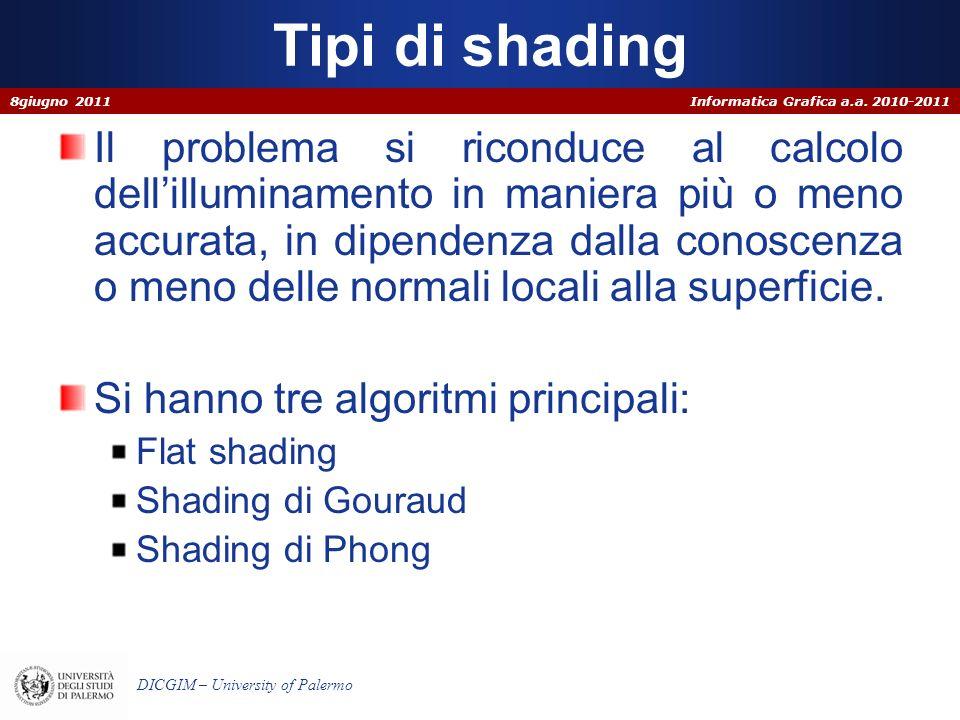 Informatica Grafica a.a. 2010-2011 DICGIM – University of Palermo Tipi di shading Il problema si riconduce al calcolo dellilluminamento in maniera più