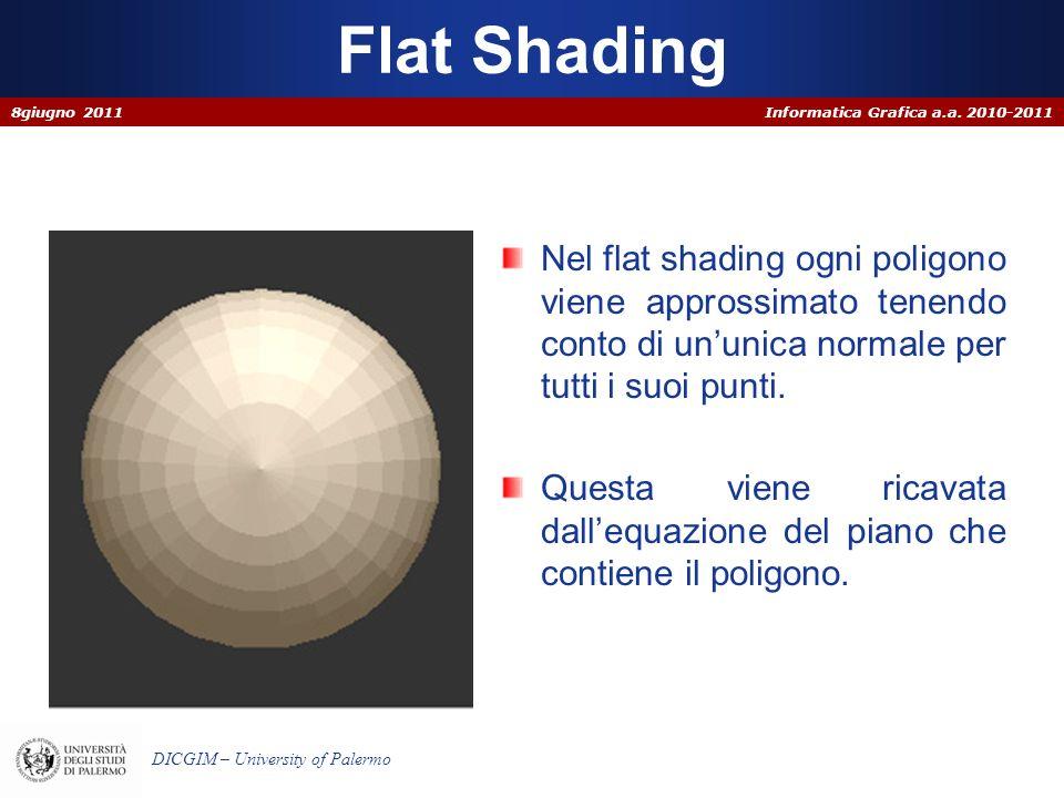 Informatica Grafica a.a. 2010-2011 DICGIM – University of Palermo Flat Shading Nel flat shading ogni poligono viene approssimato tenendo conto di un u